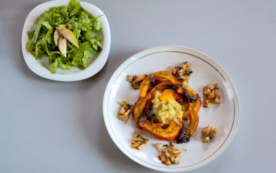 Mashed sweet potatoes, baked pumpkin with onions, pear and sage compote, green salad