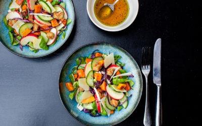 Autumn salad, roasted pumpkin, apple, croutons and honey vinaigrette