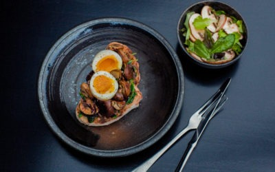 Mushroom and spinach toasts with soft boiled egg and salad