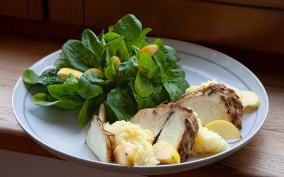 Ofensellerie, Kartoffel-Meerrettich-Stampf, Feldsalat mit Äpfeln