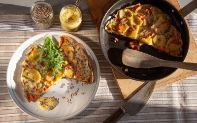 Kartoffel-Möhren-Tortilla mit veganer Mayonnaise