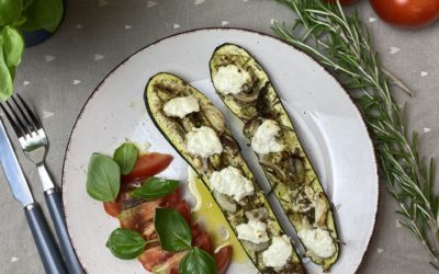 Oven Zucchini with goat cheese and tomato salad