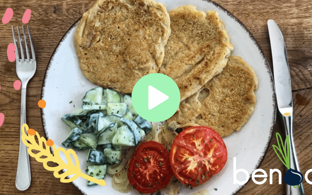 Zucchini pancakes with oven tomatoes